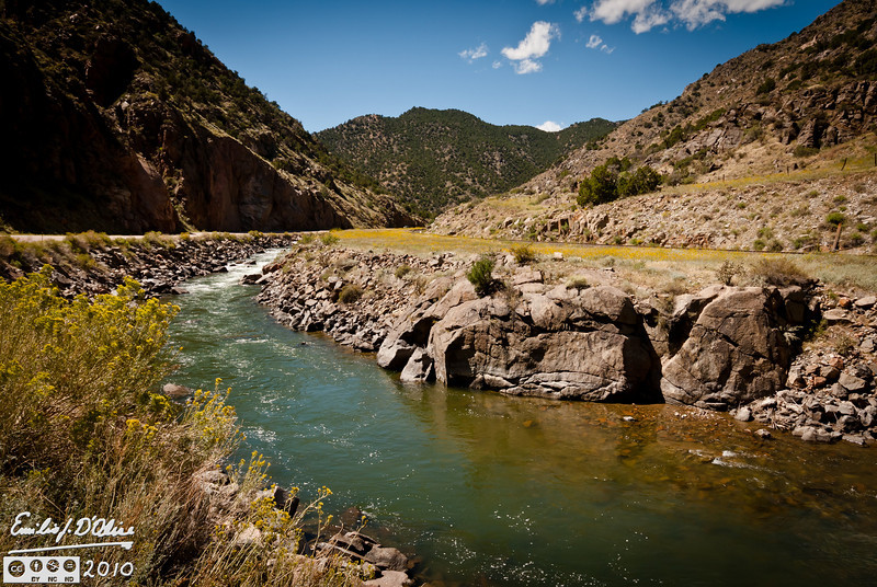The Arkansas river running along Colorado Highway 50 along a nearly 30 miles long winding canyon just west of Canon City on the way to Salida.