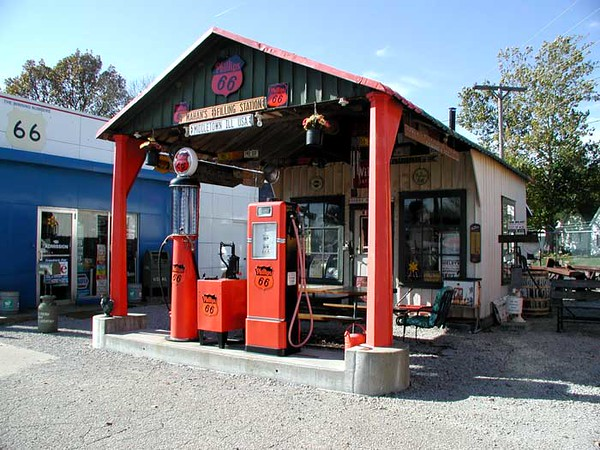 ALL-METAL GAS STATION Shea's Route 66 Gas Station Musuem, Springfield, Illinois  Bill even went so far as to purchase, pull up, and haul over an old gas station from several miles away. Now how's <i>that</i> for commitment?