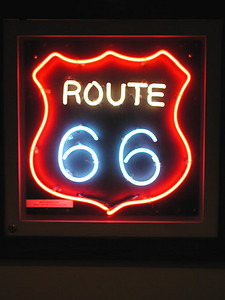 NEON ROUTE 66 SIGN Dixie Truck Stop, McLean, Illinois  It did have this cool neon Route 66 sign, though, which I was sorely tempted to make off with. I do love neon.