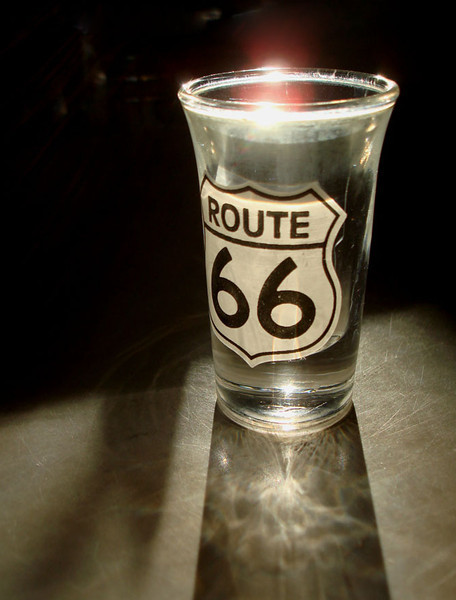 ROUTE 66 SHOTGLASS<br /> I couldn't afford the tour of the Meramac Caverns when I was there, but I just had to have the shot glass. Pretty cool, huh?