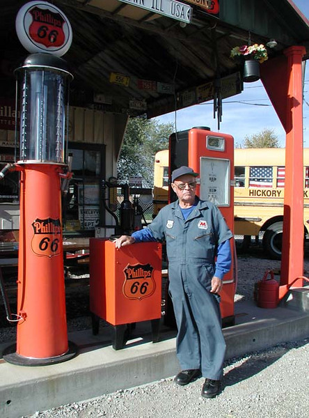 BILL SHEA HIMSELF<br /> Shea's Route 66 Gas Station Musuem, Springfield, Illinois<br /> <br /> I just had to get a picture of this remarkable fellow standing in front of these old pumps. He said he's been in magazines all over the world -- most recently in Germany. Amazing.