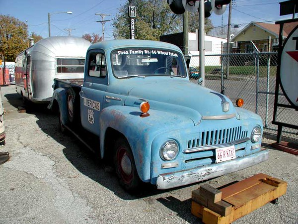 THE WHOLE RIG<br /> Shea's Route 66 Gas Station Musuem, Springfield, Illinois<br /> <br /> And an antique International truck to pull it around with. And he said they still go out on trips in it. How cool!