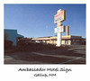 AMBASSADOR MOTEL SIGN<br /> Gallup, New Mexico<br /> <br /> I asked the tow truck driver where would be a nice, reasonable place to spend the night while I awaited the news from Pep Boys about my car and this is where he dropped me off. It was a seedy little place, but not without a reasonable amount of charm. The Ambassador Motel would be my home for the next three days while we awaited parts.