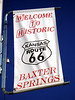 WELCOME BANNER<br /> Baxter Springs, Kansas<br /> <br /> This town was another popular stopping spot on old Route 66 back in its heyday. Another quiet little town, but again that could be do to the early hour. The town still thrives today.