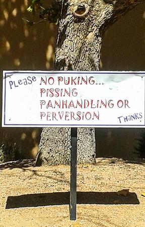 smartphone. Sign pleading good behaviour.