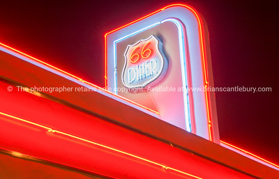 Neon Signage 50's style Diner on Historic Route 66, Albuquerque, New Mexico, USA.