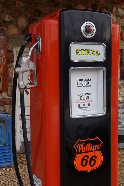 Restored Phillips 66 gas pump at Spencer, MO.