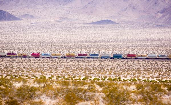 Mile long train though Mojave Desert, Ludlow, California, USA.
