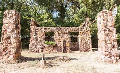 Historic Route stone ruins of abandoned gas station near Luther, Oklahoma  Oklahoma on Route 66