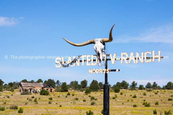 Slanted Ranch sign on Route 66 New Mexico.
