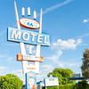 Stage Coach Motel sign, Route 66, Seligman, Arizona, USA