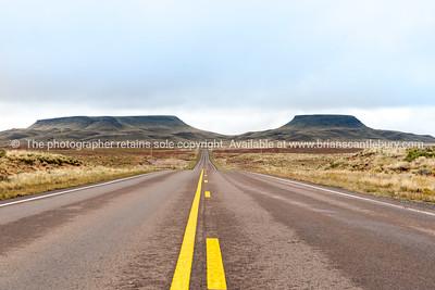 Desert road and mesa Route 66, Arizona, USA.
