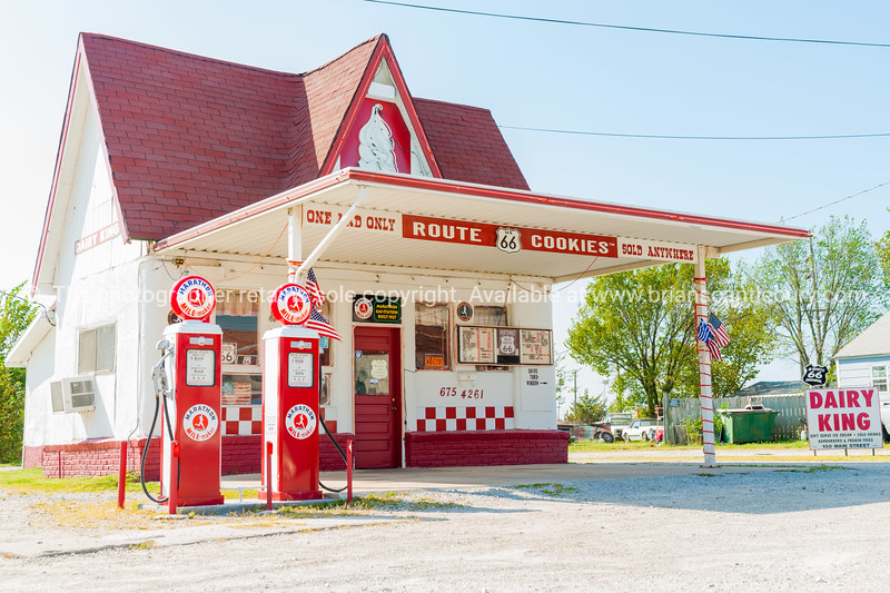 Dairy King and Marathon Mile Maker Garage on Route 66 at 100 N Main St, Commerce, Oklahoma, USA