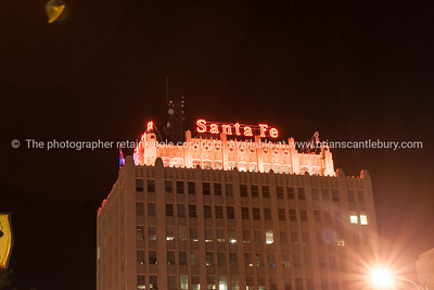 Urban neon signs and lighting, downtown Amarillo, Texas, USA