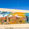 Mural depicting geography, Indian and rural life  Gallup, Historic Route 66, New Mexico, USA. Model/Property Release; No, personal and editorial use only.