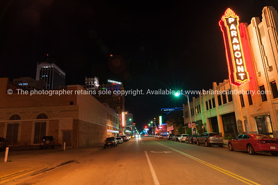Urban neon signs and lighting, Paramount,  downtown Amarillo, Texas, USA