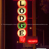 Gallup lodge neon sign at night, New Mexico, USA.