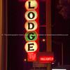Gallup lodge neon sign at night, New Mexico, USA.