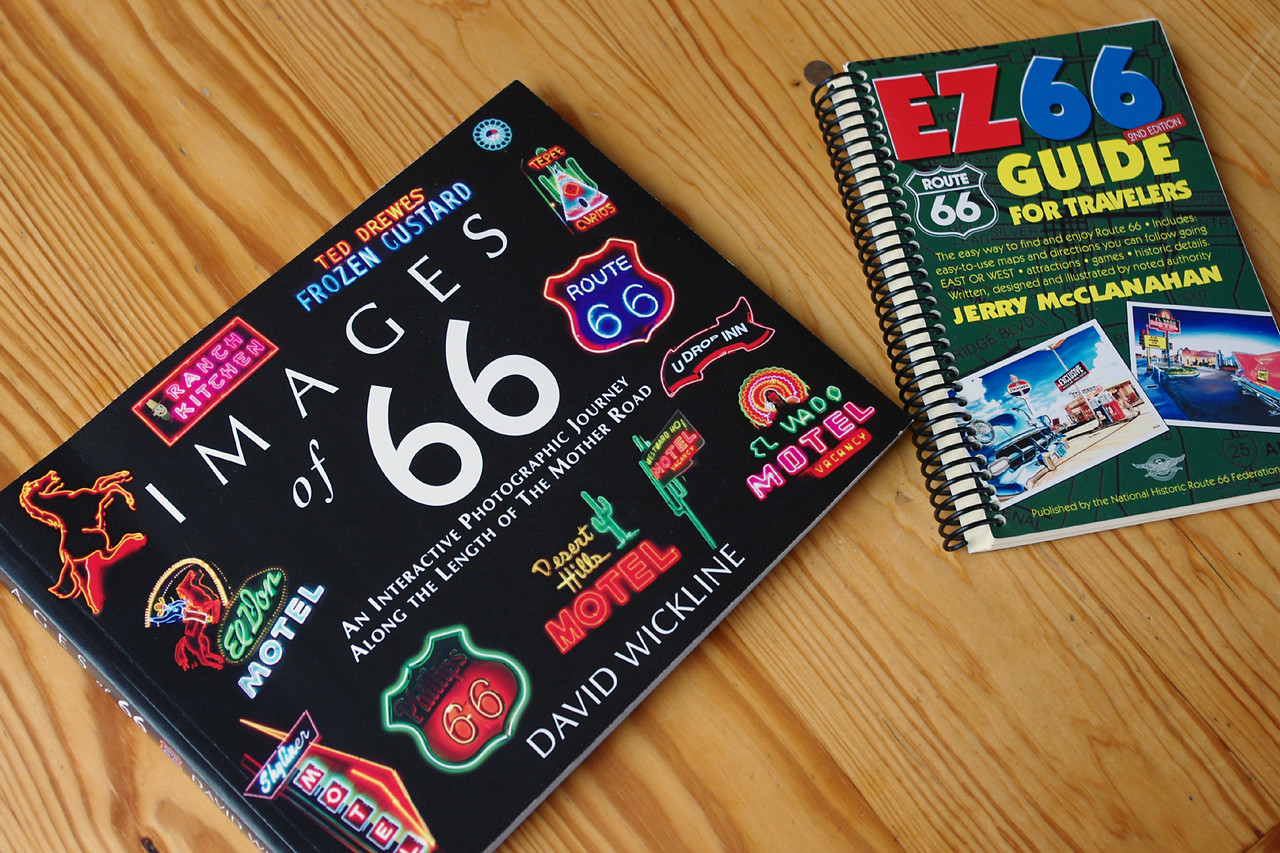 "Two handy references for Mother Road explorers are:<br />  ""Images of 66"" by David Wickline, and <br /> ""EZ 66 Guide for Travelers"" by Jerry McClanahan. <br /> <br /> Both are available from Gary Turner's Gay Parita Sinclair station west of Halltown, Missouri."