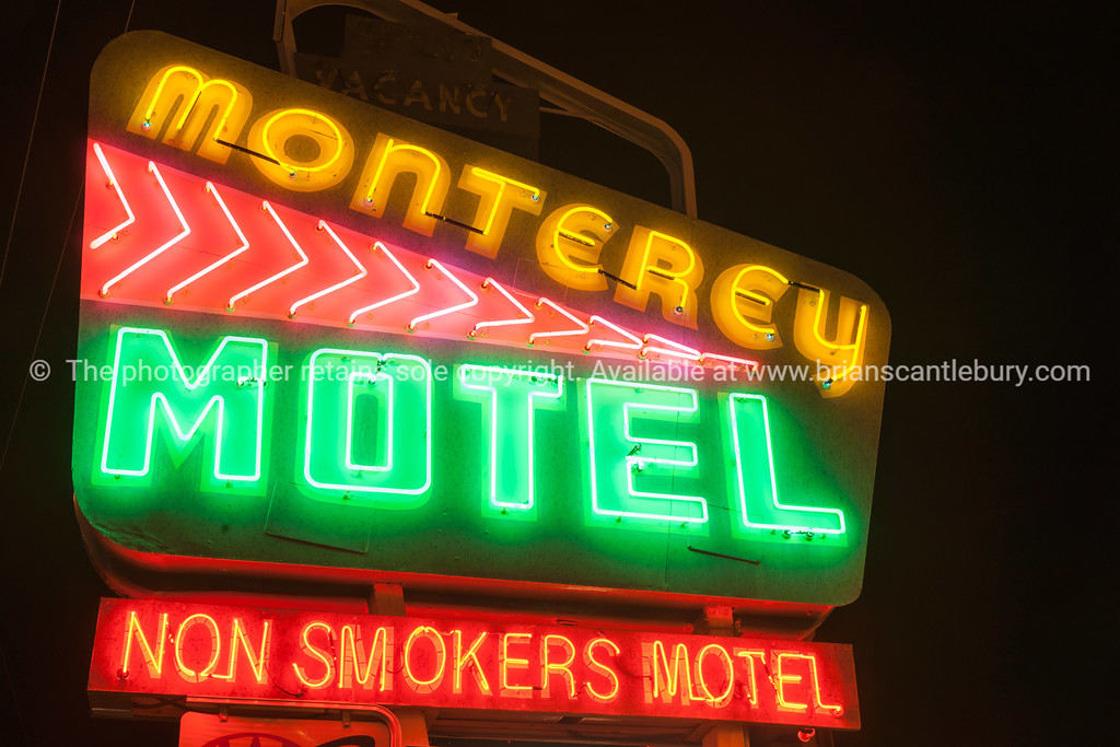 Monterey Motel neon sign, Albuquerque, New Mexico, USA.
