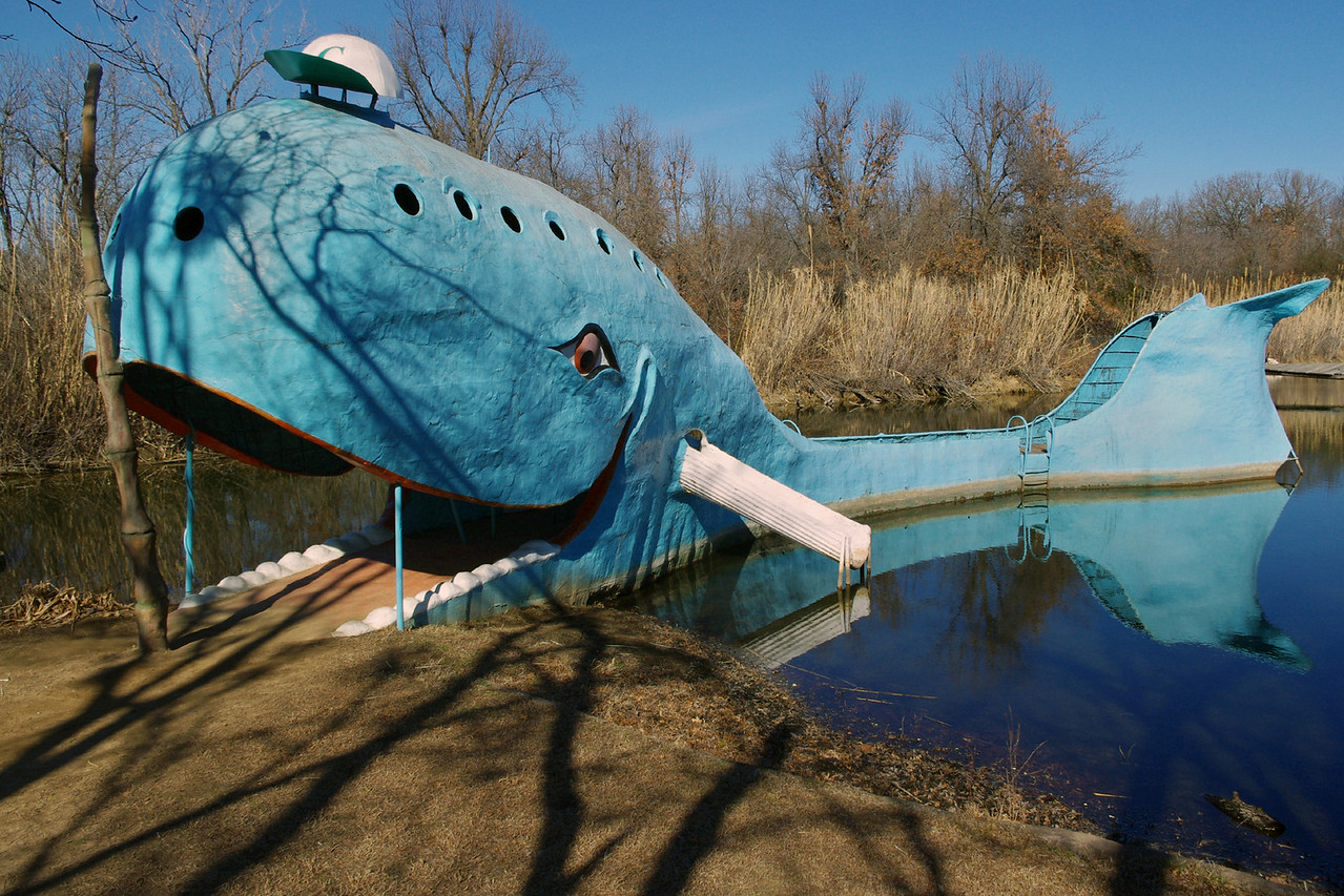 "The Blue Whale. A roadside attraction on Route 66 at Catoosa, Oklahoma. The concrete structure was built by Hugh Davis as part of a swimming park in operation from 1970-1988 (per ""Images of 66"" by David Wickline)"