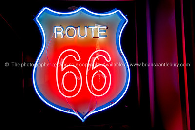 Neon window sign at 50's style Diner on Historic Route 66, Albuquerque, New Mexico, USA.