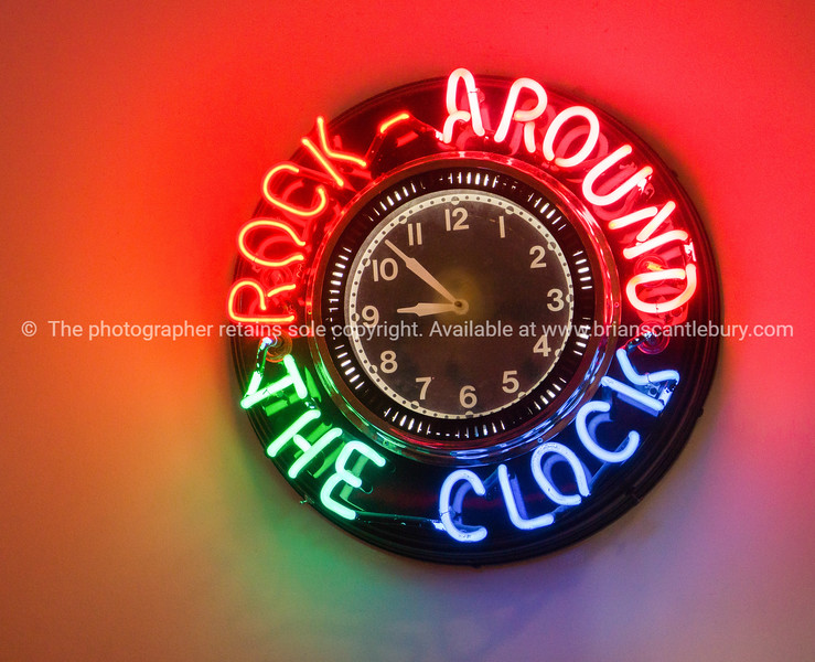 Rock around the Clock neon clock, 50's style Diner on Historic Route 66, Albuquerque, New Mexico, USA.