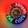 Rock around the Clock neon clock, 50's style Diner on Historic Route 66, Albuquerque, New Mexico, USA.