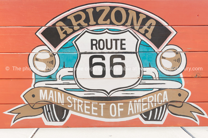 Arizona, Route 66 sign on side of building, Seligman, Arizona, USA.