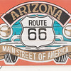 Arizona, Route 66 sign on side of building, Seligman, Arizona, USA.