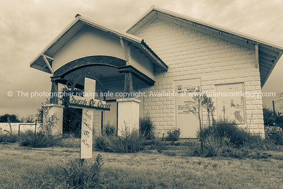 Abandoned Church of Christ on Old Route 66, McLean, Texas.