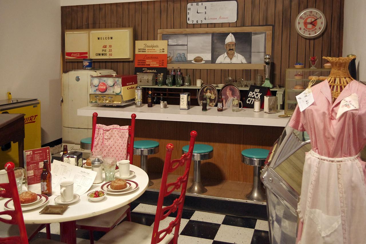 Diner scene, Route 66 Museum, Lebanon, Missouri.