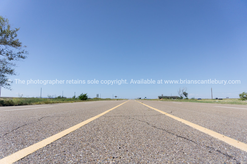 Landscapes and Mother Road remains, San Jon, Route 66, New Mexico, USA.