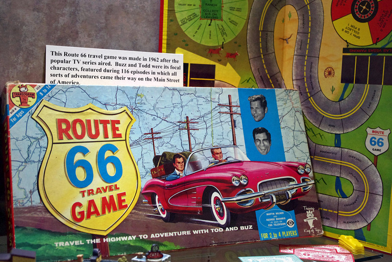 Route 66 Travel Game based on the TV show featuring Buzz and Todd. Display at the Route 66 Museum, Lebanon, Missouri.