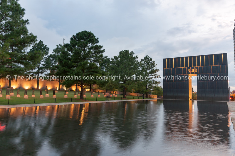 Oklahoma National Memorial and Museum located in downtown Oklahoma City on the former site of the Alfred P. Murrah Federal Building, which was destroyed in the 1995 bombing. Also known as Oklahoma Bombing Memorial.