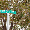 Bucket of Blood Street road sign Holbrook Arizona recalls the days of wild west