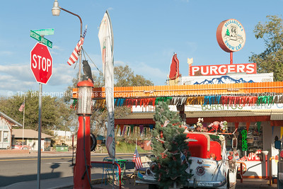 Christmas tree on  old truck outside Route 66 Delgardillo's Snow Cap restaurant in Seligman, Arizona USA.