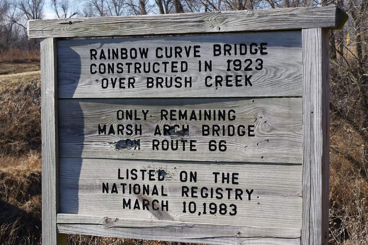 Sign for Marsh Arch Bridge west of Riverton, Kansas.