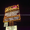 Historic on Route 66, El Rancho Hotel and Motel neon sign illuminated in Gallup, New Mexico.
