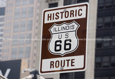 Historic Route 66 sign near start point in Chicago