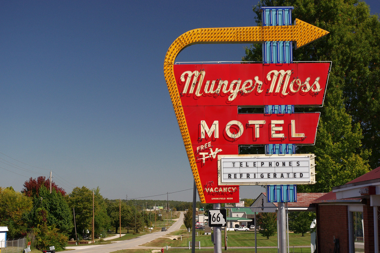 Munger Moss Motel sign on Route 66 near Lebanon, Missouri.