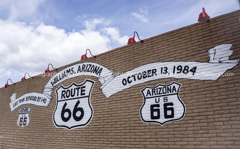 Wall sign Williams Arizona, Historic Route 66, USA