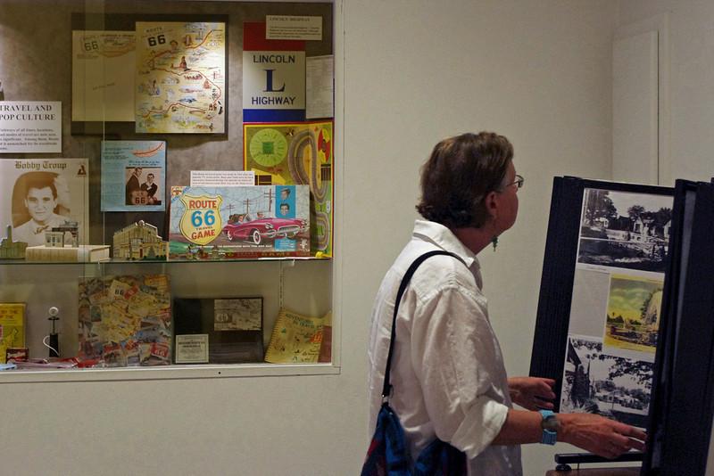 Rita, looking at displays in the Route 66 Museum, Lebanon, Missouri.