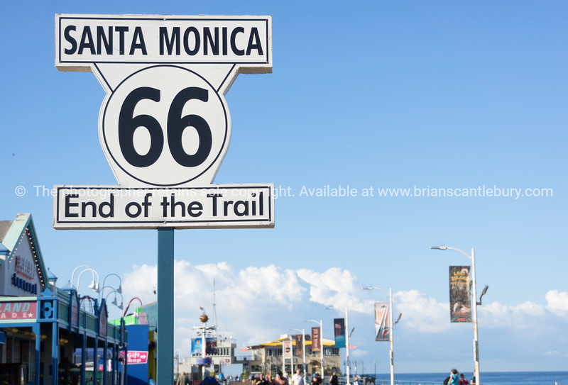 Route 66 west end, Santa Monica Pier, Los Angeles,California, USA.