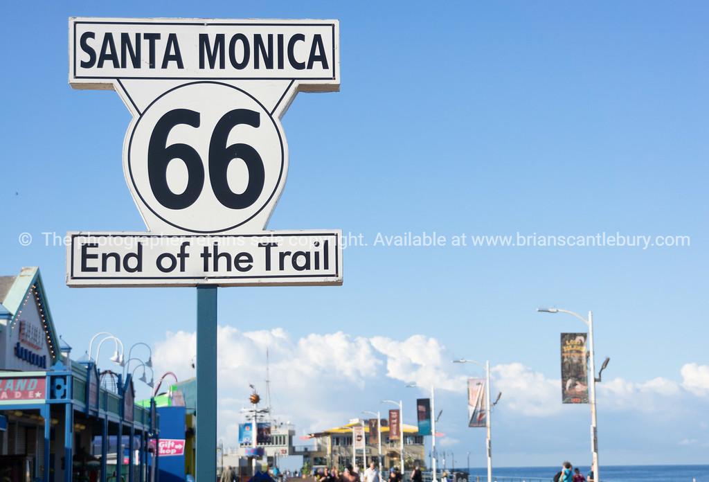 Route 66 west end, Santa Monica Pier, Los Angeles,California, USA.