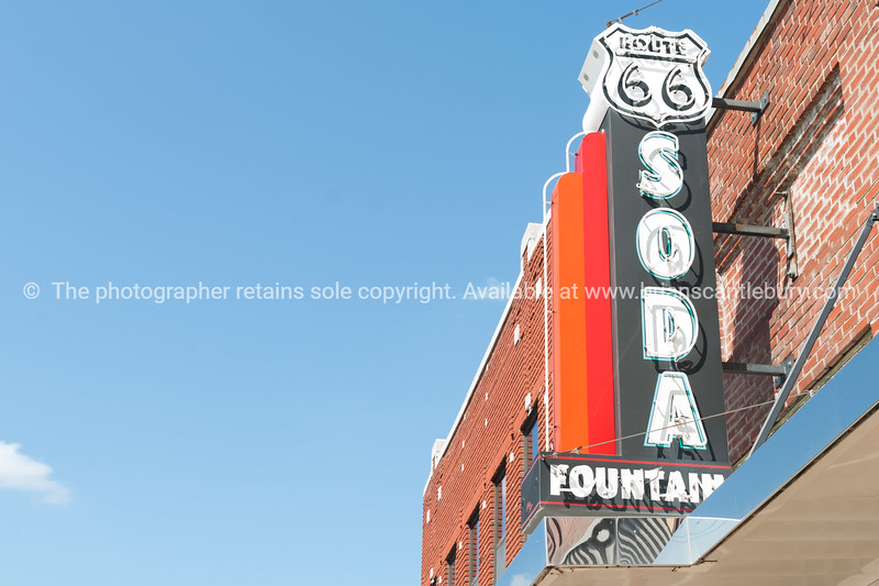Retro Sign Route 66 Soda Fountain  Learning Center 1136 Military Ave, Baxter Springs, KS United States
