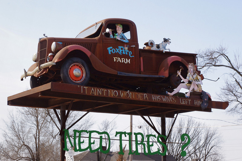"""It ain't no wonder his wives left him."" Here is another Lowell Davis creation on Central Avenue, Carthage, MO."