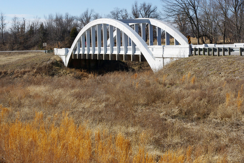 Old Route 66 crossed Brush Creek on this rainbow Arch Bridge west of Riverton, Kansas.