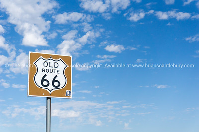 Old Route 66 tourist sign,Another  of incredible variety of 66 signs seen along the historic route