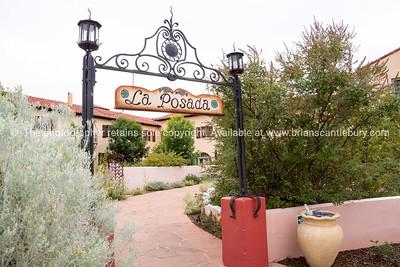 Entrance La Posad, historic Santa Fe Railrad Hotel, Winslow, Arizona, USA